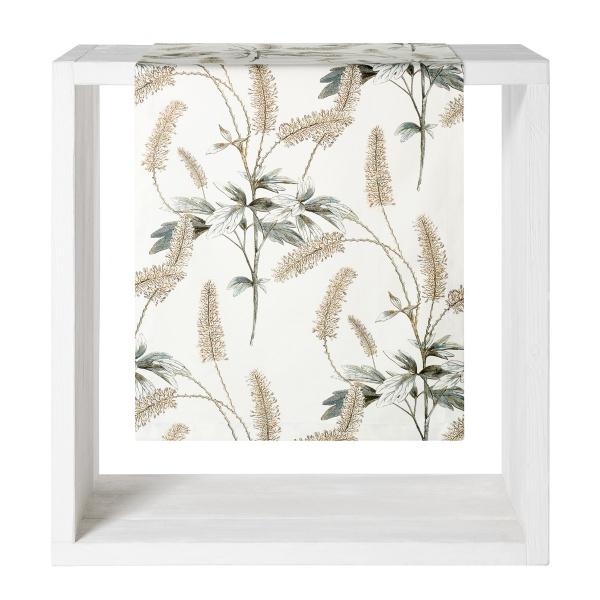 Tischläufer Botanica, Gräserdruck auf mercerisierter Baumwolle, Farbe natur, Größe 50x160 cm