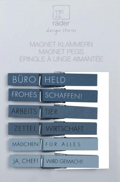 Magnetklammern OFFICE, 6er Set, verschiedene Sprüche, Größe 7,5x1x1 cm