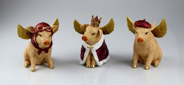 """Figuren 3er Set """" Himmlische Schweine """", Größe je 7.5 x 5.5 x 7.5 cm"""