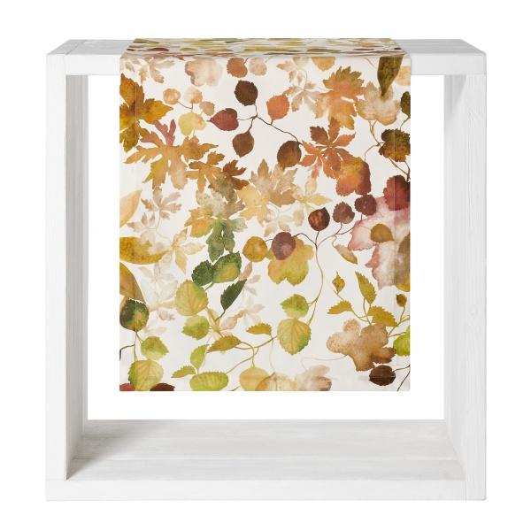 Otono Tischläufer, herbstlicher Blätterdruck im Farbspiel natur/ grün/braun,Größe 50x140 cm