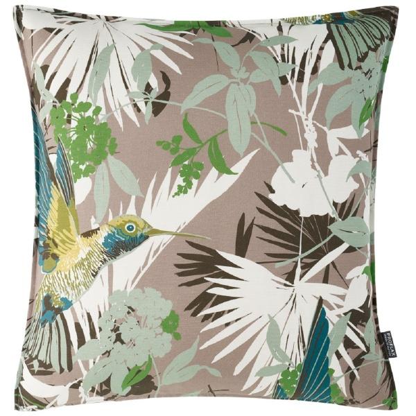 Kissenhülle Saveria, Alloverdruck Blättermuster mit Kolibri auf 100% Baumwolle, Größe 50x50 cm
