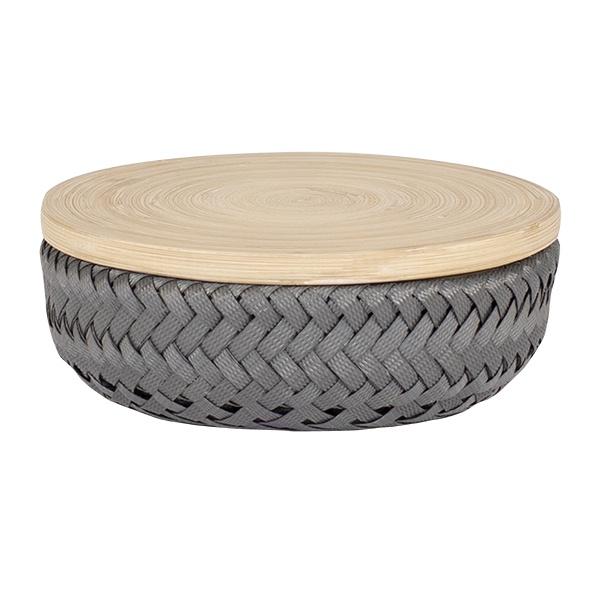 Wonder Basket, Flechtkorb mit Bambusdeckel, Farbe dark grey, Verschiedene Größen