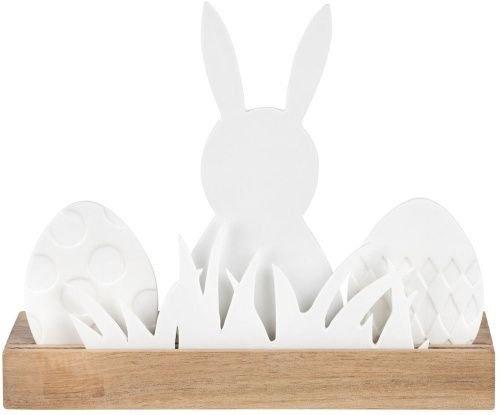 Ostern - Lichtobjekt Hase, Holzleiste mit Porzellanfiguren, Größe 22 cm L x 7 cm B x 16,5 cm H