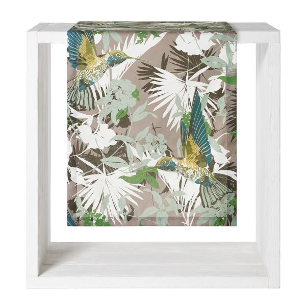 Tischläufer Saveria, Alloverdruck Blättermuster mit Kolibri auf 100% Baumwolle, Größe 50x160 cm