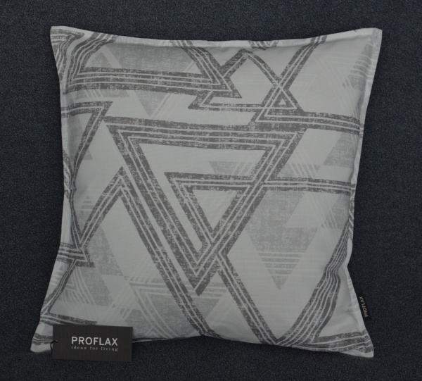 Kissenhülle Colima, grafisches Dessin in Farbe grey
