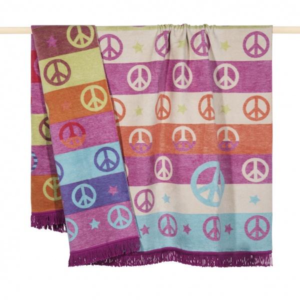 Plaid / Decke Peace, Größe 150x200 cm, verschiedene Farben