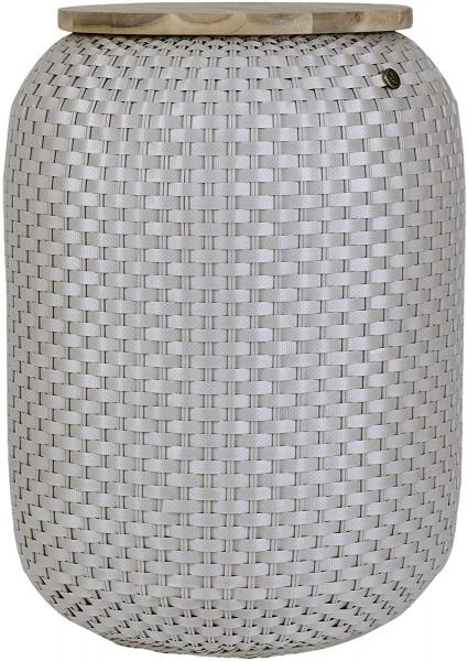 Halo High Basket, Beistelltisch mit Stauraum, verschiedene Farben, Größe 62x43x43 cm, mit Holzplatte