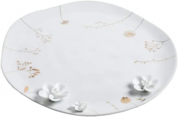 Teller Blumenwiese, Größe 28 cm, Porzellan glasiert mit Druck und Porzellanelementen