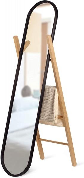 Standspiegel, Rahmen schwarz / Holz natur Schwarz, Floor Mirror Größe 42.5 x 58.5 x 158 cm