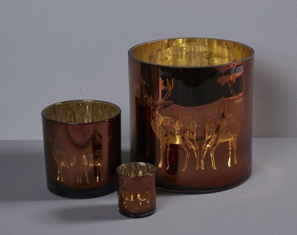 Windlicht Motiv Hirsch, kupfer/ innen gold